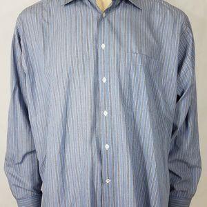 blue striped long sleeve button up shirt 17 34-35